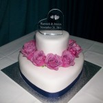 2 tier love heart fondant cake with fresh coolwater roses