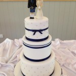 3 extended height tier with navy and silver