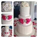 3 tier extended height with hot pick ribbon, bow and bling