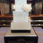 3 tier square fondant cake with silver piping