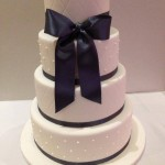 4 tier cake with quilting and dots