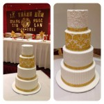 4 tier white and gold stencil cake