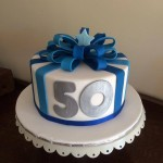 50th birthday bow cake