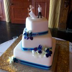 Aqua and purple ribbon with bling buckle