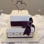 Aubergine hand piped wedding cake