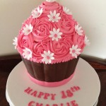 Big cupcake with swirl icing