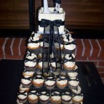 Black Bows on square cupcake stand