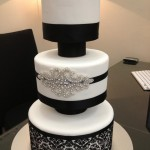Black and white with diamante belt through middle tier