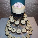 Black & silver with pink fragipanni cupcakes