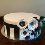 Black, white and glitter birthday cake