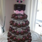 Black,silver & pink heart cupcakes