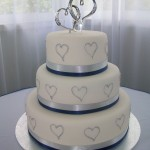Blue & silver ribbon & silver love hearts