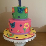 Bright first bday cake
