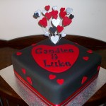 Candice's engagement cake black, red & silver theme