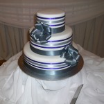 Charcoal, silver and purple ribbons.