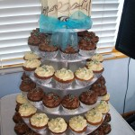 Choc & caramel cupcakes with a touch of aqua