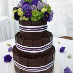 Choc chards with purple, white ribbon and a bit of bling.