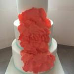 Coral rose petal cake