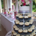 Cupcakes with lolly buffet in background
