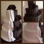 Half choc, half white B&G cake