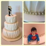 Ivory pleats and pearls with superman