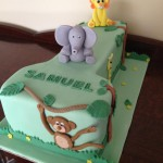 Jungle first birthday cake