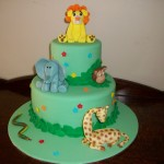 Jungle themed cake for baby shower