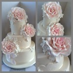 Large pale pink roses and fondant lace