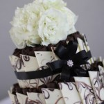 Marbled chards with bling and black ribbon and flowers by Bliss floral.