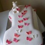Number 1 cake with butterflies and bear