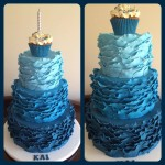 Ombre blue ruffle birthday cake
