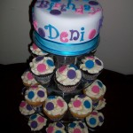 Pink, Purple & blue dot cupcakes