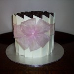 Pink organza flower bow with pearl