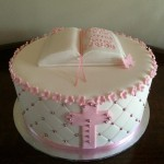 Pretty in pink christening cake
