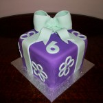 Purple & green parcel cake