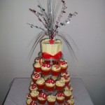 Red, White & Silver 40th Cupcakes