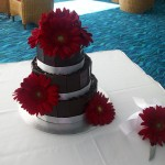 Red gerbera cake with knife