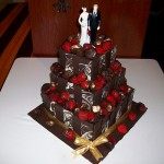 Sam's choc dipped straw wedding cake