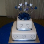Square 2 tier blue & silver glitter hearts