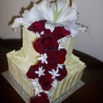 Two tier cascading roses cake