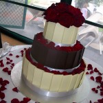 White, dark choc chards with red roses