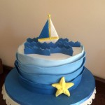 blue water and boat cake