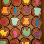 bright baby shower cupcakes
