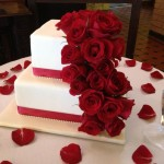 cascading red roses on fondant