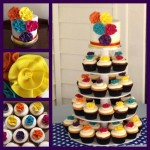 colourful ribbon flower cupcakes