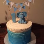 cute blue elephant and bunting cake - Copy