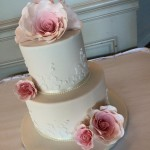 lace applique and sugar roses