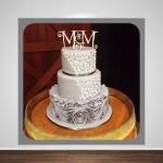silvery grey ruffle swirl cake