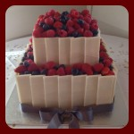 square mixed berry cake