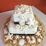 tn_Navy ribbon, beach themed cake